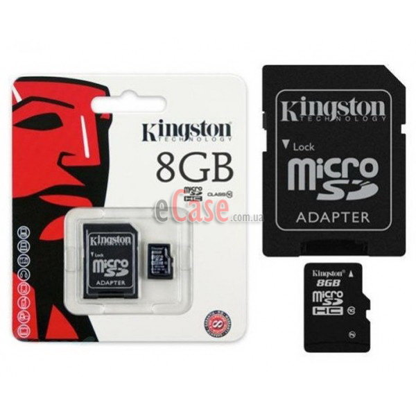 Карта памяти Kingston microSDHC (Class 10) 8Gb фото 1 — eCase
